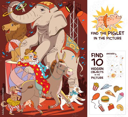 Fotografie, Obraz Circus show with elephant, clown, dog, lion and donkey