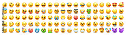 Yellow emoji. Funny emoticons faces with facial expressions. 3D stylized vector icons set