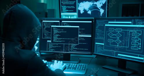 Asian male hacker use laptop Fototapet