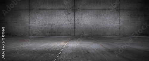 Dark Floor Background Concrete Wall Empty Stage Backdrop for Product Placement and Presentation