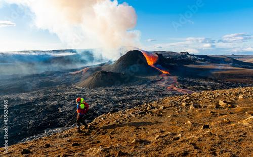 Icelandic volcano Fagradalsfjall eruption with rescue team on foreground Fototapeta