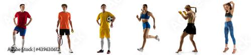 Fotografia Multi sport collage football tennis soccer, boxer and runner sportsmen isolated on white background