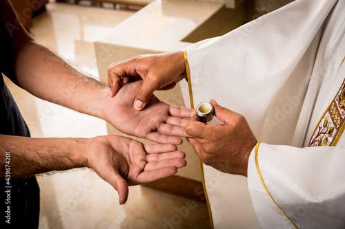 Billede på lærred Sacraments of the Catholic Christian religion in church.