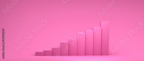 Photo 3D render illustration of bar graph