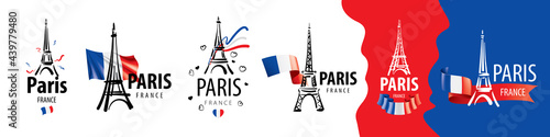 Stampa su Tela A set of vector icons of the Eiffel Tower in Paris drawn by hand