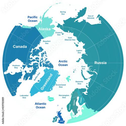 Billede på lærred North Pole. Vector Detailed Illustration. Arctic map