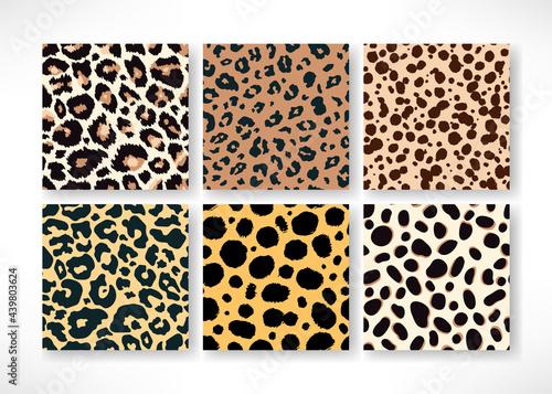 Obraz na płótnie Vector Trendy leopard skin seamless pattern set