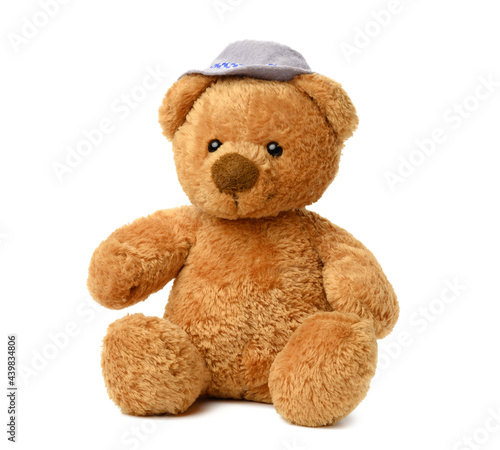 brown teddy bear in a felt hat sits on a white isolated background