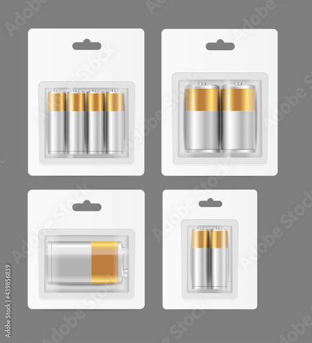 Realistic Detailed 3d Different Alkaline Batteries Set. Vector Fototapet