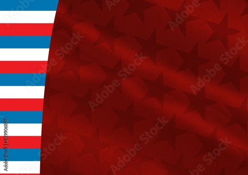 Composition of red stars with red, white and blue american flag stripes in background