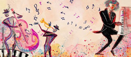 Fotografia Concert. World of music. Watercolor design element