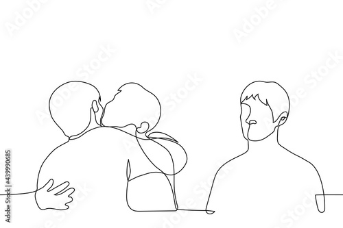 man stands aside from a pair of hugging men, he envies them and feels lonely - one line drawing Fototapeta