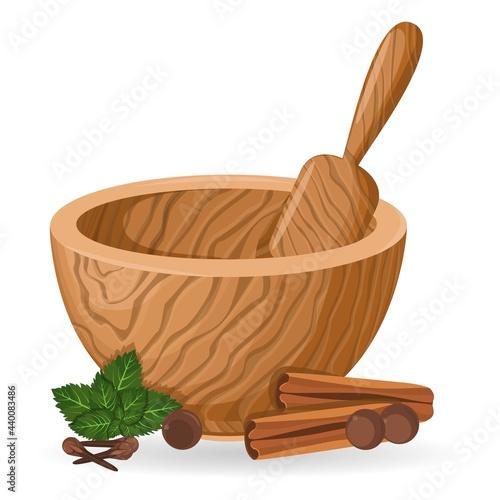 A wooden mortar and pestle Fototapeta