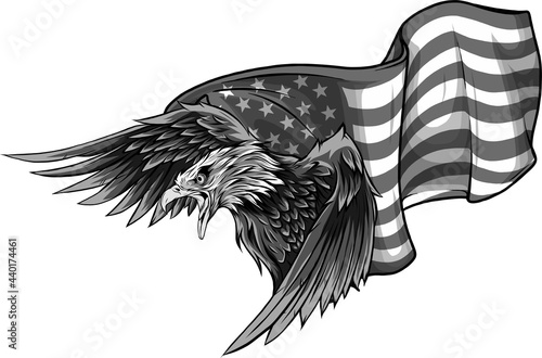 Canvas Print vector illustation American eagle against USA flag
