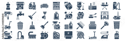Obraz na płótnie set of 40 cleaning and housekeeping web icons in glyph style such as brush, lawn mower, paint roller, garbage truck, soap, liquid soap