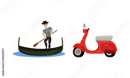 Fotografia Italy Country Symbols with Gondolier with Paddle on Boat and Scooter Vector Set