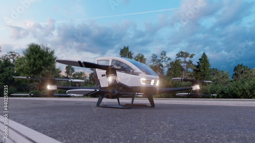 Cuadros en Lienzo In the early morning, a high-tech air taxi departs for its destination