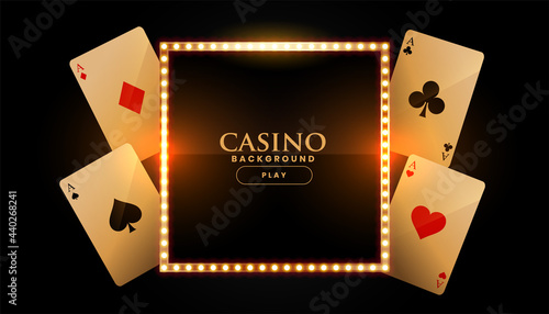 Fotografia casino background with cards and golden frame