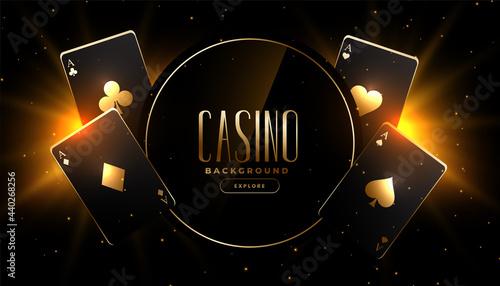 Billede på lærred glowing golden black playing cards casino background design