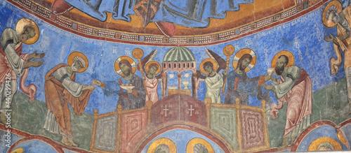 Fotografie, Obraz Frescoes on the walls of Akhtala church in Armenia