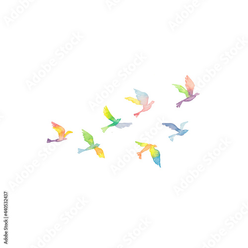 Canvastavla 虹色の鳥の群れ