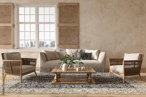 Valokuvatapetti Scandinavian farmhouse style beige living room interior with natural wooden furniture