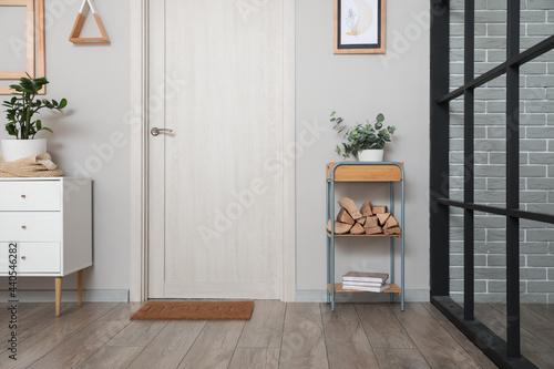 Photographie Interior of modern hallway with firewood