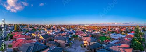 Obraz na plátně Panoramic aerial Drone view of Melbournes suburbs and CBD looking down at Houses