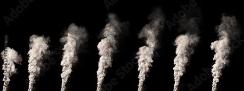 Fotografiet big pillar of smoke on black isolated - design industrial 3D illustration