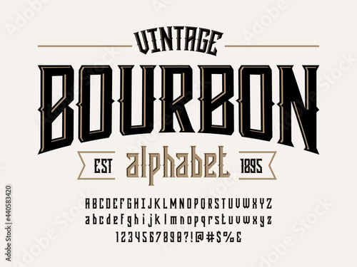 Obraz na płótnie Vintage whiskey and bourbon label style alphabet design with uppercase, lowercas
