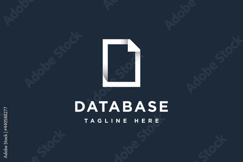 Tablou Canvas Document database logo design vector illustration
