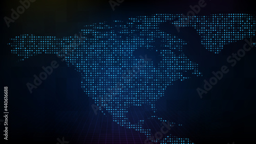 Obraz na plátně abstract futuristic technology background of blue digital NA north america map