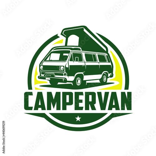 Tablou Canvas Campervan Circle Logo Vector Isolate