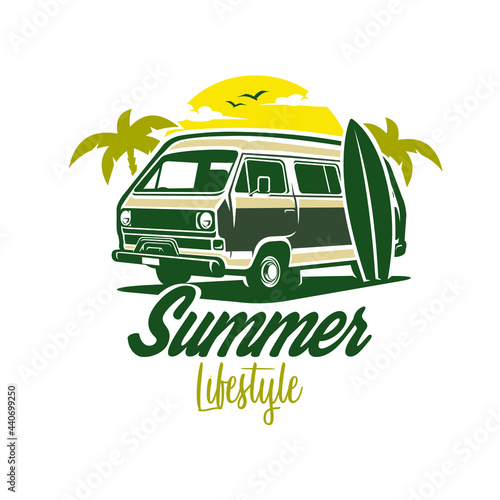 Tablou Canvas Campervan Summer Surfing Vector Isolated