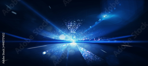 Fotografie, Obraz Abstract dark blue cosmos background wallpaper.