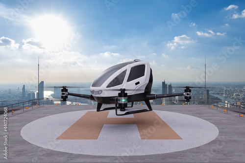 Wallpaper Mural Autonomous driverless aerial vehicle takeoff on building rooftop, 3d render