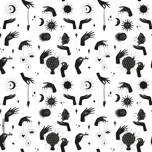Obraz na plátne Seamless pattern with hand drawn doodle line art female witch hands holding sun and moon
