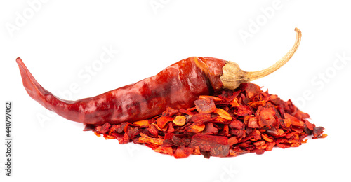Cuadros en Lienzo Dried red chili flakes with seeds, isolated on white background