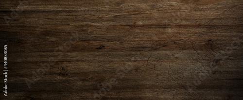 Stampa su Tela Dark wood background, old black wood texture for background