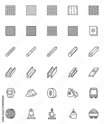 Obraz na plátně Metallurgy production line icons set