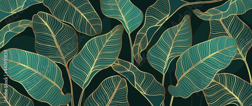Fotografie, Tablou Abstract art Golden leaves background vector