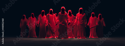 Canvas-taulu 3D Rendering, illustration of several red hooded figures in a dark background