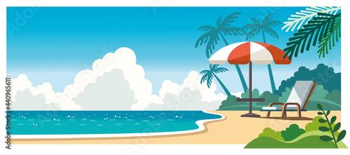 Photo 海とビーチチェアのイラスト素材