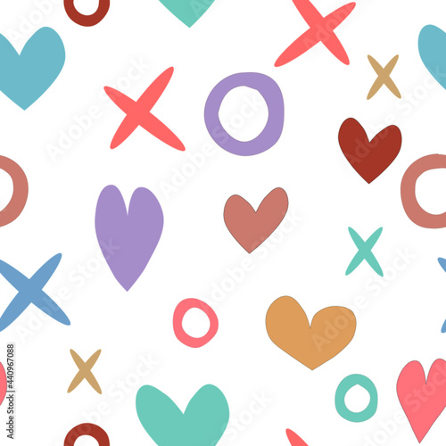 Wallpaper Mural seamless background with hearts and kisses and hugs frame