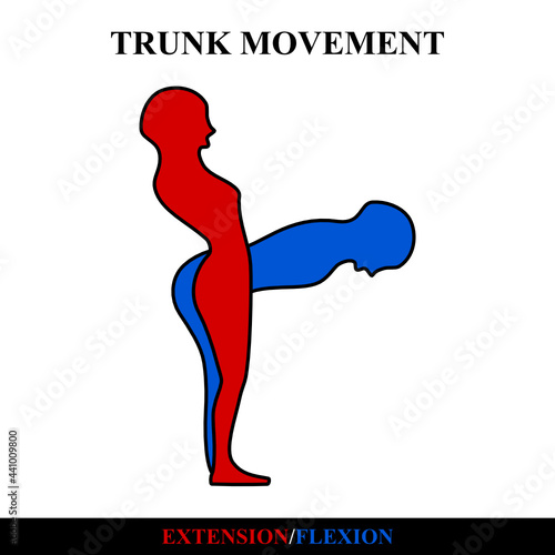 Foto symbol icon. trunk extension and flexion