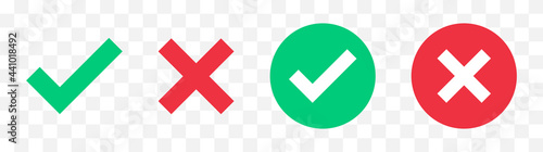 Fotografering Green check mark, red cross mark icon set