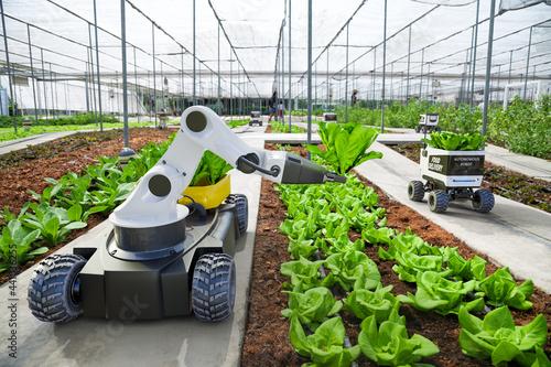 Canvastavla Agriculture robotic and autonomous car working in smart farm, Future 5G technolo