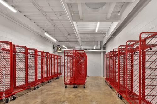 Fototapeta Empty racks storage at fire station