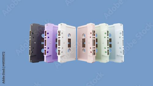Photographie 3d cassette tape arranged vertically, 3d illustration