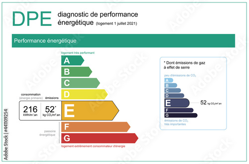 """Cuadros en Lienzo """"DPE"""" energy performance diagnosis in real estate in France, 2021 official file"""